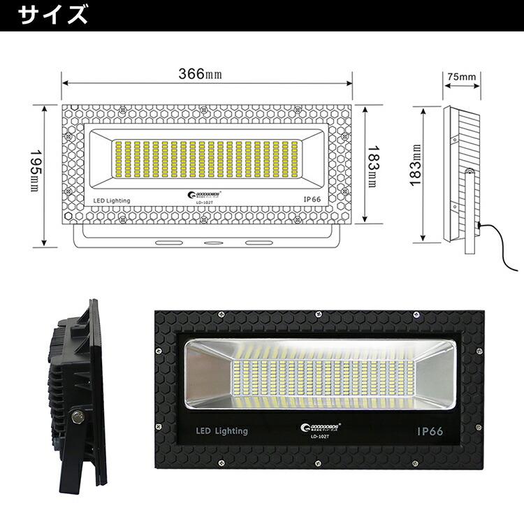 GOODGOODS led投光器 屋外 室内 薄型 看板灯 駐車場 ライトアップ照明 工事現場