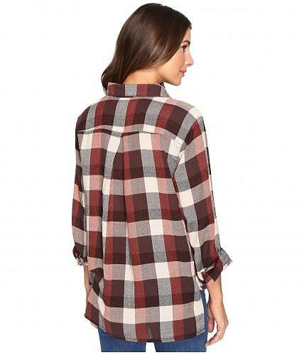 ブランクエヌワイシーBlankNYCレディース女性用ファッションボタンシャツMultiPlaidDrapeFrontShirtinWhiskeyBrown-WhiskeyBrown