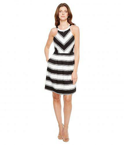 c1b0507029ecb 送料無料 アドリアナパペル Adrianna Papell レディース ドレス パーティドレス Printed Stripe Stretch  Cotton Halter Neck Fit and Flare Dress - Black White 日本 ...