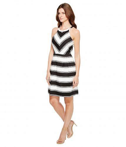 46898ec6c55a4 アドリアナパペル AdriannaPapellレディース女性用ファッションドレスPrintedStripeStretchCottonHalterNeckFitandFlareDress-Black White