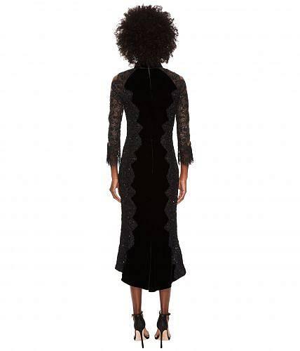 Marchesaレディース女性用ファッションドレスMarchesa3/4SleeveVelvetLaceCocktailDress-Black