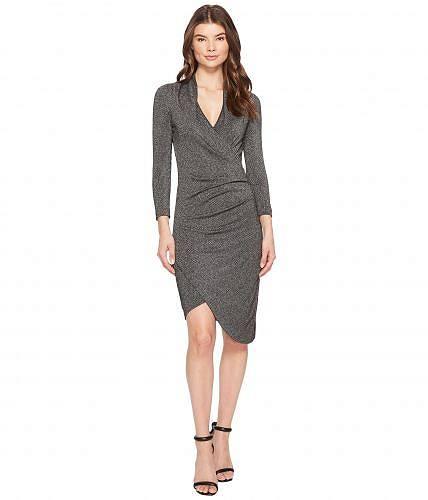 二コールミラーNicoleMillerレディース女性用ファッションドレスSilverGlitzV-NeckAsymmetricalDress-Black/Silver