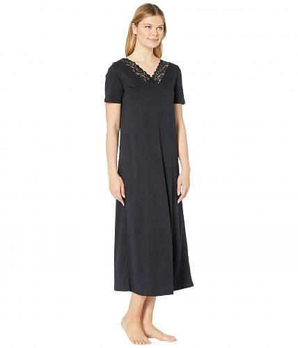 ハンロHanroレディース女性用ファッションパジャマ寝巻きナイトガウンMomentsShortSleeveLongGown-Black