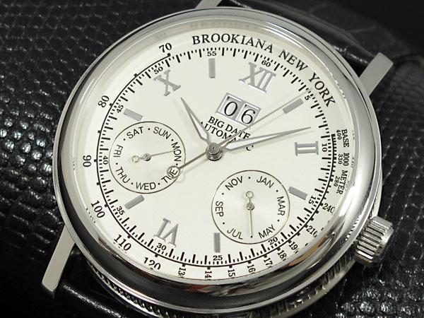 BROOKIANA(ブルッキアーナ)  BA1665-SV 自動巻き ビッグデイト レザーベルト メンズウォッチ 腕時計