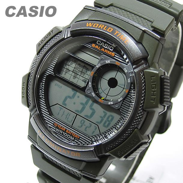 CASIO (カシオ) AE-1000W-3A/AE1000W-3A スポーツ ワールドタイム搭載 グリーン キッズ・子供 かわいい! メンズウォッチ チープカシオ 腕時計