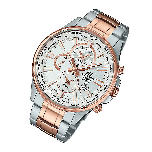 CASIO EDIFICE (カシオ エディフィス) EFR-304SG-7A/EFR304SG-7A ワールドタイム メタルベルト ゴールド×シルバー コンビ メンズウォッチ 海外モデル 腕時計