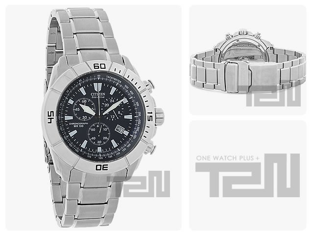 CITIZEN (シチズン)AT0810-55E Eco-Drive/エコドライブ クロノグラフ メタルベルト ブラックダイアル メンズウォッチ 腕時計