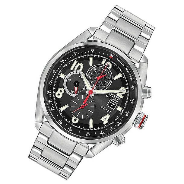 CITIZEN (シチズン)CA0368-56E Eco-Drive/エコドライブ クロノグラフ ブラック メタルベルト メンズウォッチ 腕時計