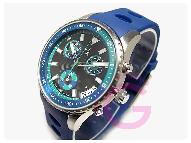 Calvin Klein / カルバンクライン CK チャレンジ K3217377 ラバーベルト クロノグラフ メンズウォッチ 腕時計計
