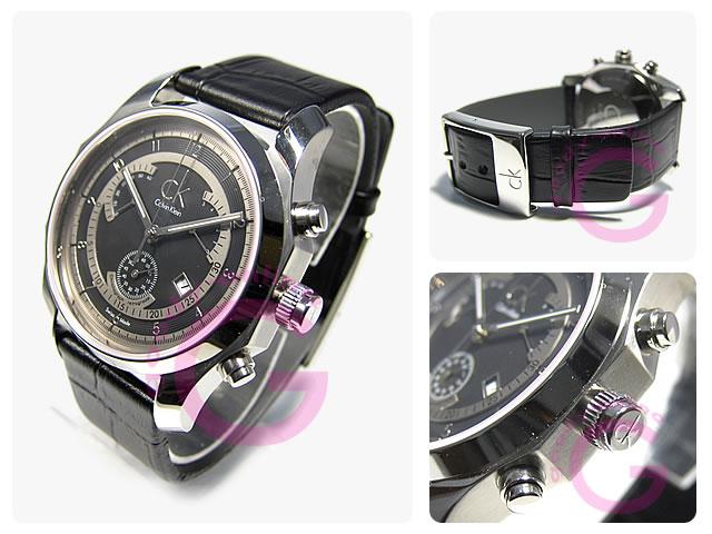 Calvin Klein / カルバンクライン CK クロノグラフ/レトログラード K77311.02/K7731102 レザー メンズ 腕時計