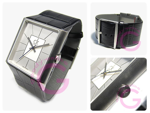 Calvin Klein / カルバンクライン CK アンギュラー K9611120 レザーベルト メンズウォッチ 腕時計