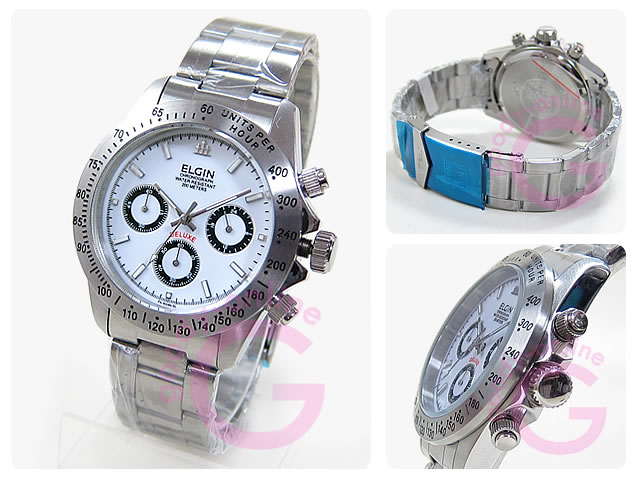ELGIN (エルジン) FK1059N-SL クロノグラフ ダイバーズモデル 20気圧防水 メンズウォッチ 腕時計