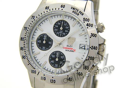 腕時計【【正規品】ELGIN(エルジン) FK1184S-W クロノグラフ ダイバーズウォッチ 20気圧防水 メンズ 腕時計】