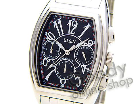 腕時計【【正規品】ELGIN(エルジン) FK1215S-B クロノグラフ トノー ブラック メンズ 腕時計】