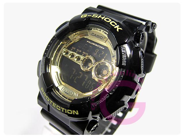 CASIO g shock G shock Casio GD 100GB 1/GD 100GB 1 High Brightness LED backlit black x Gold men's watch