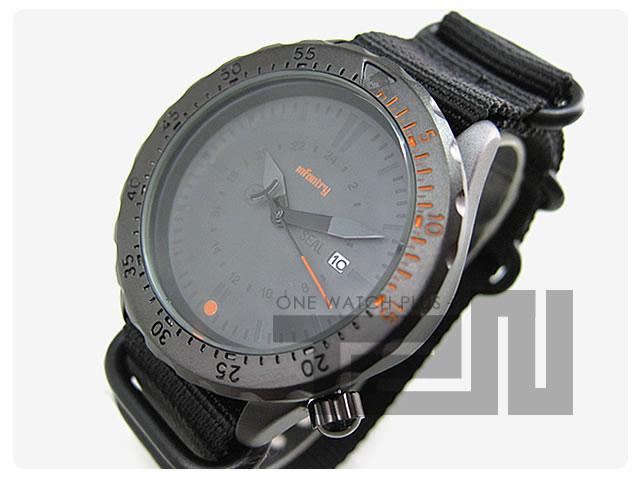 INFANTRY/インファントリー IN-037-ORBK ブラックアウト/オールブラック オレンジベゼル×ブラックZULUベルト ミリタリーウォッチ/メンズウォッチ 腕時計