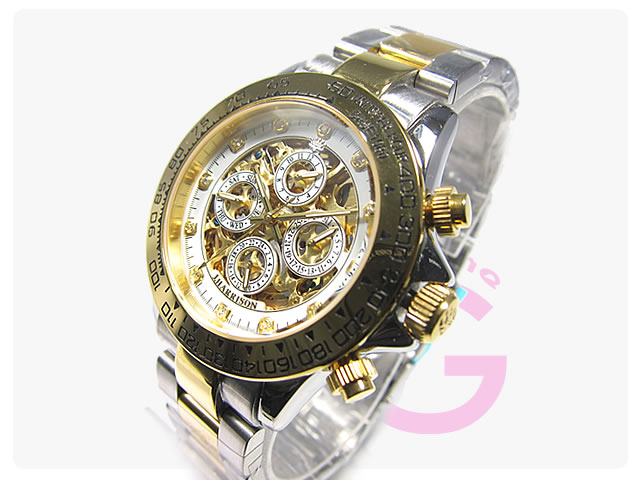 J.HARRISON(ジョンハリソン) JH-003GW フルスケルトン 自動巻き メンズウォッチ 腕時計