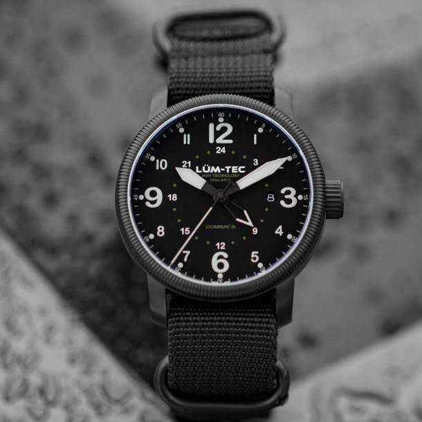 LUM-TEC (ルミテック)コンバット Combat B38 GMT クォーツ スイス製 Ronda 515.24Hムーブメント採用 チタニウムカーバイドPVDハードコート ミリタリー 腕時計