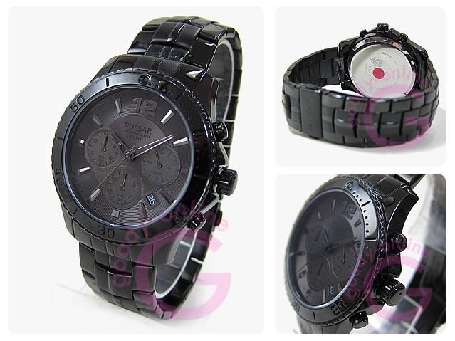 PULSAR(パルサー)クロノグラフ PT3293 オールブラック SEIKO USA/セイコー USA メンズウォッチ 腕時計