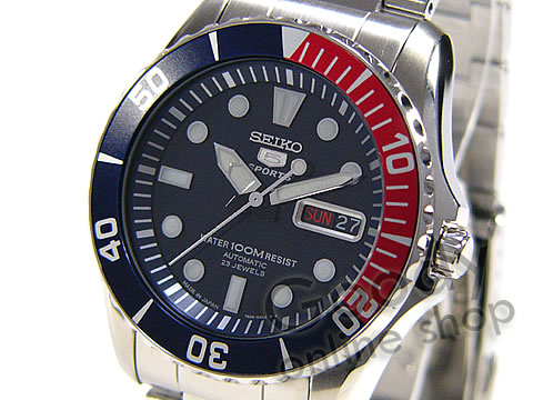 腕時計【SEIKO (セイコー) SEIKO5 SPORTS/セイコー5 スポーツ SNZF15J1 自動巻き ネイビー/レッドベゼル 腕時計】