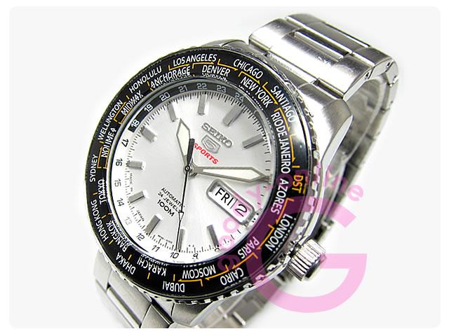 SEIKO5(セイコーファイブ) SRP123J 自動巻き ワールドタイム表示ベゼル 腕時計