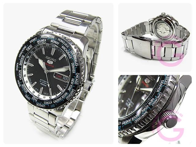 SEIKO5(セイコーファイブ) SRP127J1 ワールドタイム表示ベゼル メンズウォッチ 腕時計