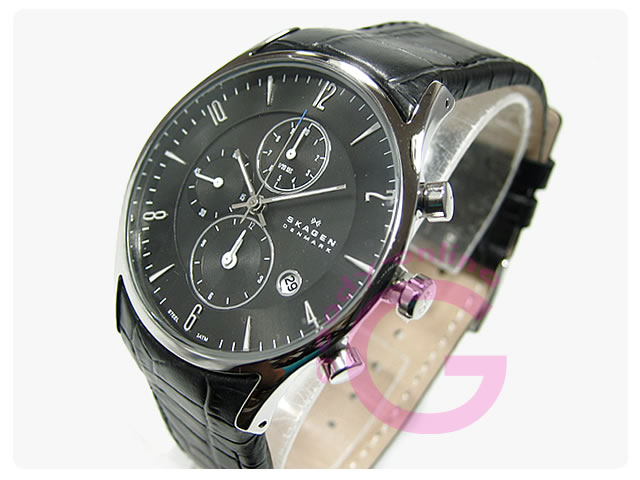 SKAGEN(スカーゲン) 329XLSLB クロノグラフ レザーベルト メンズウォッチ 腕時計