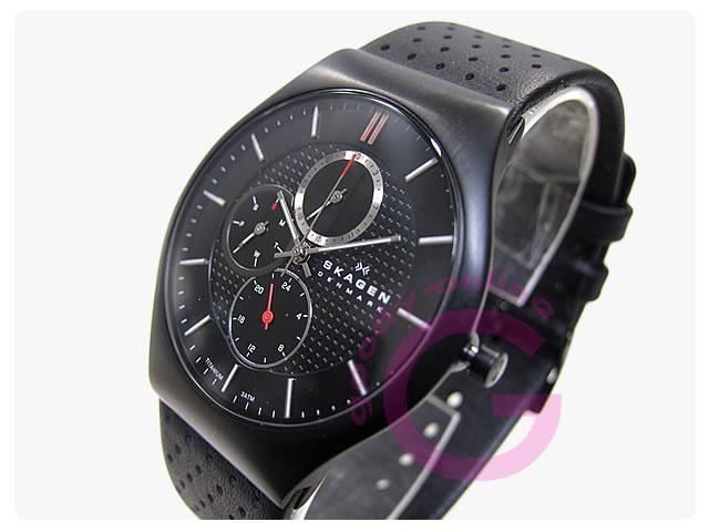 SKAGEN (スカーゲン) 856XLTBLB チタンケース レザーベルト メンズウォッチ 腕時計
