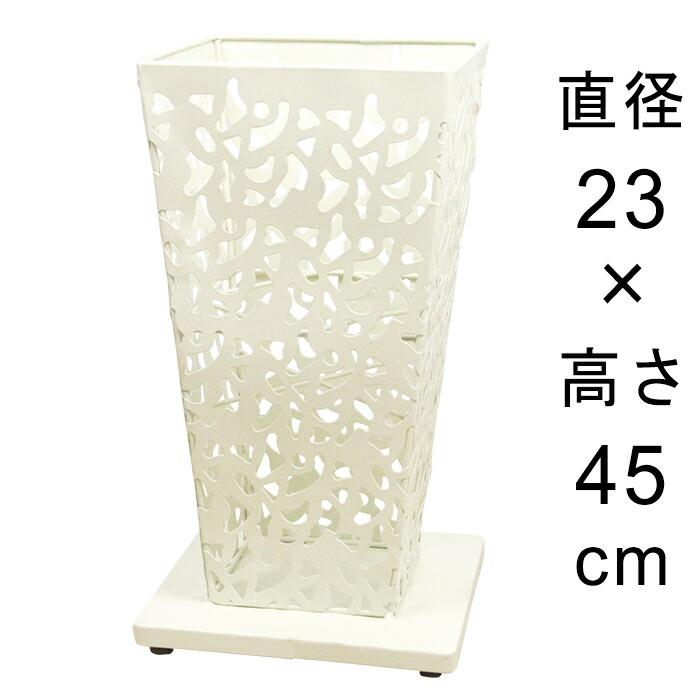 アイアンフラワースタンド角型アンティークホワイト23cmH45cm
