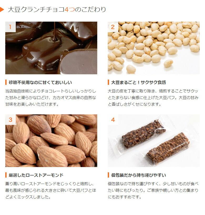 大豆クランチチョコ4つのこだわり/低糖質/糖質制限/糖質制限ダイエット/置き換えダイエット/糖質オフ/糖質カット/低GI