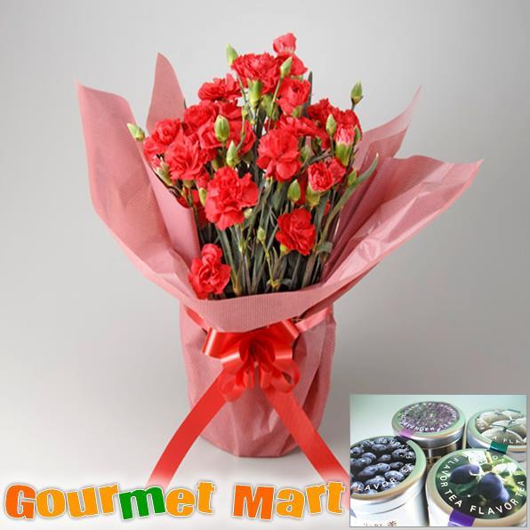 【母の日ギフト】カーネーション5号鉢植え(鉢花)と紅茶(選べる4種)セットをラッピングしてお届けいたします!
