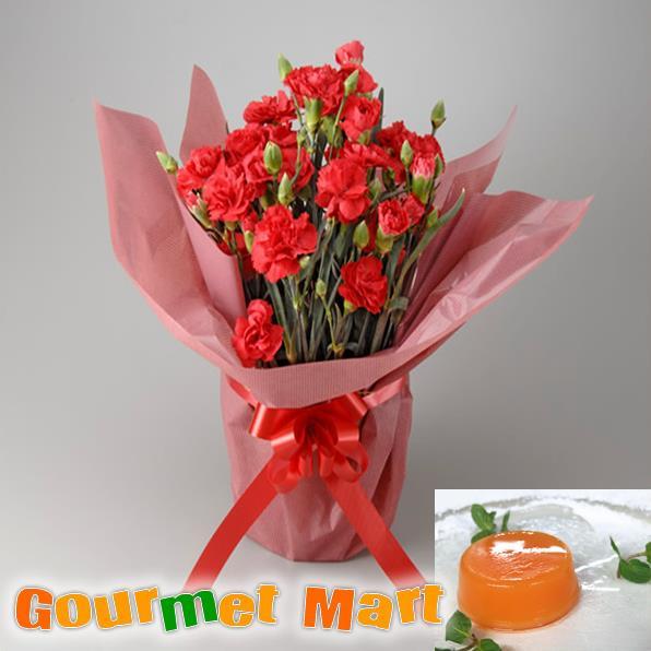 母の日ギフト カーネーション5号鉢植え(鉢花)&夕張メロンピュアゼリーをラッピングしてお届けいたします!【楽ギフ_のし宛書】