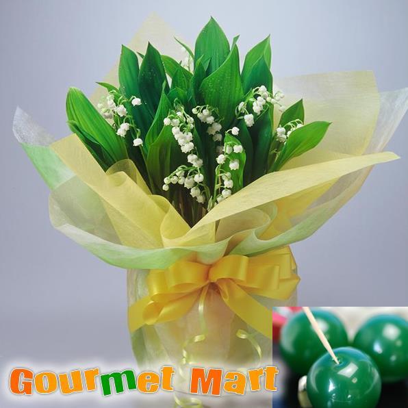 すずらん鉢植え4.5号鉢8本植え(鉢花)と夕張メロンピュアゼリーをラッピングしてお届けいたします!