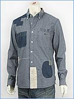 アビレックス リペアー U.S.N. ボタンダウンシャツ AVIREX L/S REPAIR U.S.N. SHIRT 6135009-88 長袖