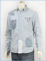 アビレックス リペアー U.S.N. ボタンダウンシャツ AVIREX L/S REPAIR U.S.N. SHIRT 6135009-89 長袖