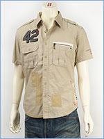 アビレックス レザーパッチ リペアーシャツ AVIREX S/S LEATHER PATCHED REPAIR SHIRT 6135023-06 半袖