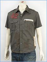 アビレックス レザーパッチ リペアーシャツ AVIREX S/S LEATHER PATCHED REPAIR SHIRT 6135023-75 半袖