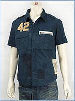 アビレックス レザーパッチ リペアーシャツ AVIREX S/S LEATHER PATCHED REPAIR SHIRT 6135023-87 半袖