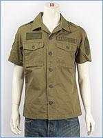 アビレックス 半袖 ミリタリー パッチシャツ AVIREX S/S U.S.MARINES PATCHED SHIRT 6155091-73