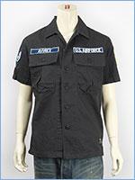 アビレックス 半袖 パッチ ヘリンボーン ミリタリーシャツ AVIREX S/S COTTON HERRINGBONE PATCH SHIRT 6165099-19