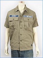 アビレックス 半袖 パッチ ヘリンボーン ミリタリーシャツ AVIREX S/S COTTON HERRINGBONE PATCH SHIRT 6165099-75