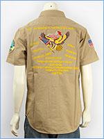 アビレックス 半袖 刺繍&パッチ ミリタリーシャツ ネイビー AVIREX S/S EMBROIDERY & PATCHED NAVY SHIRT 6165121-87