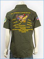 アビレックス 半袖 刺繍&パッチ ミリタリーシャツ ネイビー AVIREX S/S EMBROIDERY & PATCHED NAVY SHIRT 6165121-75