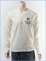 AVIREX アビレックス ステンシルプリントTシャツ Vネック ワッフル L/S WAFFLE STENCIL V NECK TEE 6173414-01