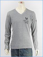 AVIREX アビレックス ステンシルプリントTシャツ Vネック ワッフル L/S WAFFLE STENCIL V NECK TEE 6173414-16
