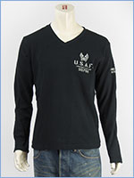 AVIREX アビレックス ステンシルプリントTシャツ Vネック ワッフル L/S WAFFLE STENCIL V NECK TEE 6173414-19