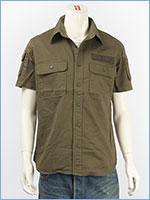 アビレックス ファティーグ カーキシャツ ミリタリー AVIREX S/S FATIGUE KHAKI SHIRT 6175093-75