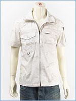 アビレックス ツートン カモ ミリタリーシャツ フルジップ AVIREX S/S FULL ZIP MIL. SHIRT IN TWO TONE CAMO 6185093-01