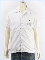 アビレックス タイプブルー デニム パッチワークシャツ ミリタリー AVIREX S/S TYPE BLUE DENIM PATCHWORK SHIRT 6185097-01