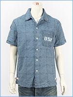 アビレックス タイプブルー デニム パッチワークシャツ ミリタリー AVIREX S/S TYPE BLUE DENIM PATCHWORK SHIRT 6185097-83